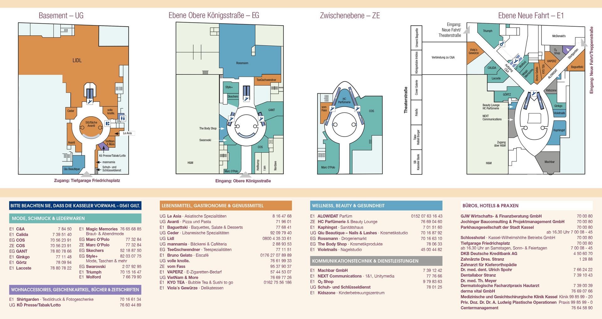 Königs-Galerie Centerplan