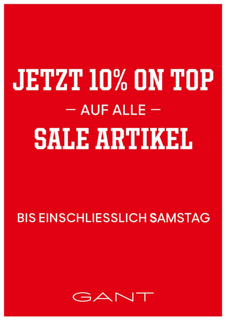 GANT – 10% on top